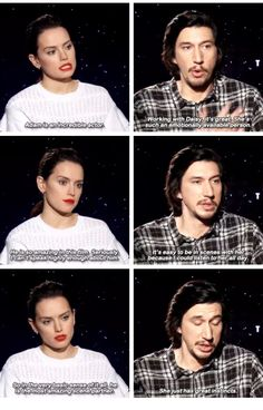Daisy Ridley and Adam Driver complimenting each other