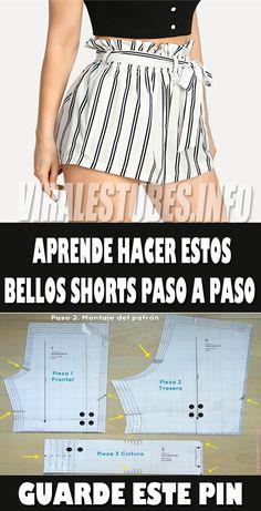 Fascinante curso gratis de costura: Aprende hacer shorts de mujer con patrones paso a paso - Jelly Tutorial and Ideas Make Your Own Clothes, Diy Clothes, Clothes For Women, Striped Shorts, Patterned Shorts, Sewing Shorts, Sewing Hacks, Sewing Tips, Sewing Tutorials