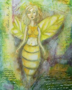 You can fly, by Zinnia Mixed Media Painting, Fairy Land, Zinnias, Art Journal Inspiration, Journal Pages, Faeries, Art Journals, Journaling, Bee
