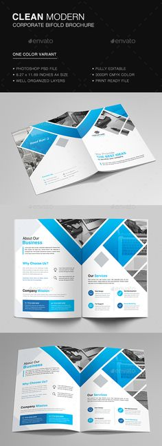 Bifold Business Brochure Template PSD - Download here: https://graphicriver.net/item/bifold-business-brochure/21841565?ref=ksioks