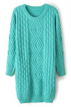 ROMWE Ribbed Knitted Green Long Jumper