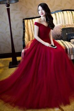 Charming Off the Shoulder Prom Dress, Floor Length Prom Dress, Tulle Prom Dresses, Elegant Burgundy Red Long Evening Dresses, Women Dresses, Formal Gowns, Prom Dresses
