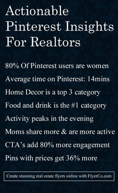 Actionable Pinterest insights for real estate lead generation. Go to https://flyerco.com to create stunning real estate flyers! #realestate #realtor