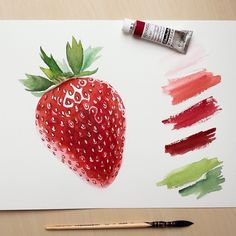 Beautiful realistic watercolor oil painting strawberry Art by: Watercolor Painting Techniques, Watercolour Painting, Painting & Drawing, Watercolors, Watercolor Illustration, Strawberry Drawing, Strawberry Art, Fruits Drawing, Food Drawing