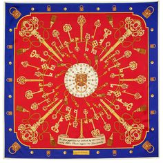 Red & Royal Blue Lion & Key Silk Scarf   Aspinal of London Key Design, Edge Design, Blue Lion, Aspinal Of London, Hand Stitching, Royal Blue, Red And Blue, Pure Products, Silk