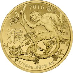 Country : Australia  (Royal Australian Mint) Years : 2016 Purity : .9999 Gold  Denomination : AUD100 Weight : 0.1oz  Diameter : 17.53mm Year Of The Monkey, Gold And Silver Coins, World Coins, Us Coins, Coin Collecting, 1 Oz, Mint, Australia, Stuff To Buy