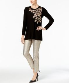 Alfani Petite Sequined Embroidered Sweater, Created for Macy's - Black P/XS