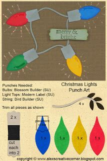 Christmas lights punch art card - Alex's Creative Corner