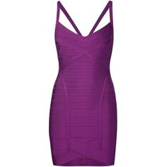 Hervé Léger Bandeau Bodycon Dress (3.945 RON) ❤ liked on Polyvore featuring dresses, purple dress, purple bodycon dress, hervé léger, purple body con dress and body conscious dress