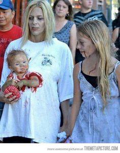 Zombie Mom and baby costume idea