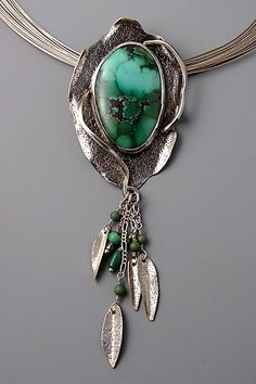 Contemporary Pendant - Patricia Reinking. Sterling silver, turquoise