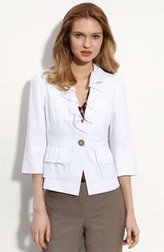 This stylish summer jacket will go with everything.  Recommended for rectangle body shapes (balanced shoulders and hips; minimal waist).