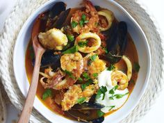 Packed full of beautifully fresh seafood, this hearty Spanish stew is the ultimate comfort food for cooler evenings with the family.