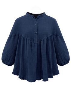 Plus Size Women Pleated Irregular Hem Half Sleeve Cotton Linen Blouse Cheap Plus Size Clothing, Plus Size Dresses, Plus Size Outfits, Plus Size Tops, Plus Size Women, Ralph Lauren Womens Clothing, Fashion Clothes Online, Linen Blouse, Blouse Styles
