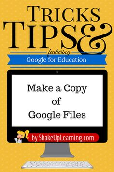 Make a Copy of Google Files: How to make a copy of those great Google Presentations and Google Docs being shared at #ISTE2014!  This is one of my absolute favorite features in Google Drive! Whenever I come across a great presentation that has been shared through Google Drive, I make my own copy to reference later. SHARING IS CARING! This applies to any Google file type: docs, sheets, slides, drawings, and forms.