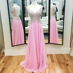 Träger Chiffon Bodenlange Abendkleider Ballkleider pink