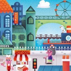 Puzzle illustration - Town scene - Details   http://keuj.net/2016/02/10/illustration-jeunesse-pour-puzzle-la-ville/