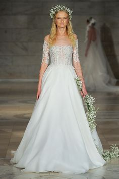 Fabulous Off the shoulder A line wedding dress with illusion top