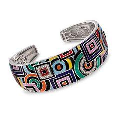 """Ross-Simons - Belle Etoile """"Geometrica"""" Multicolored Enamel and .25 ct. t.w. CZ Cuff Bracelet in Sterling Silver. 7"""" - #828662"""