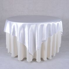 White 90 x 90 Inch Satin Table Overlays