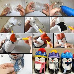 PENGUIN RECYCLED PLASTIC BOTTLE      Materials, Tools & Equipment:  recycled plastic bottle (1.5L and up)  cutter  scissors  glue gun  Paint (white, black, and other colors for decoration)  Paint brushes (different size)