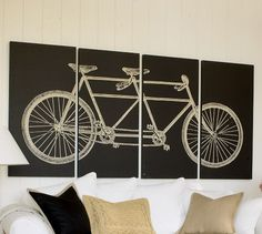 Tandem Bicycle Stretched Canvas, Set of 4 - Pottery Barn Tandem Bicycle, Bicycle Print, Bike Art, Large Art, Pottery Art, Wall Art Decor, Wall Decorations, Home Projects, Just In Case