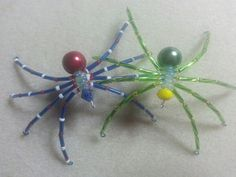 Red, white and blue & green and yellow spiders