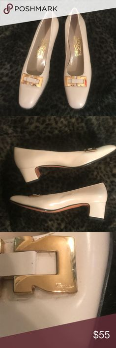 vintage Ferragamo beige pumps cute vintage Salvatore Ferragamo block heels in a beige color and gold buckles. some scuffing and damage at sides as pictured, buckles are a bit scratched. size 6.5 narrow. Salvatore Ferragamo Shoes Heels