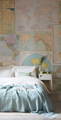 Vintage Bedroom Love the look of this modern bedroom with a vintage twist. This map collage mural brings the whole bedroom together, matching effortlessly with the bedroom accessories and colours. Small Room Design, Modern Bedroom Design, Contemporary Bedroom, Contemporary Kitchens, Map Bedroom, Bedroom Ideas, Couple Bedroom Decor, Bedroom Layouts, Dream Bedroom