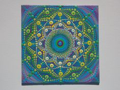 Mini Dot Painting, Sacred Geometry, Mandala, Dot Art, 5x5 inch Canvas Board, Includes Wood Stand for Display, Original Art by Kaila Lance by KailasCanvas on Etsy