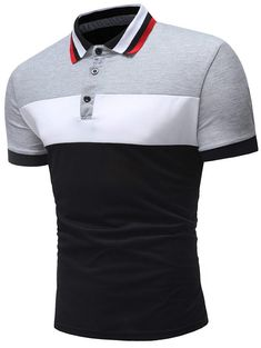 Men's Short Sleeve Casual Fashion Short Sleeves Splicing Design Shirt - Light Gray - - Men's Clothing, Men's Tops & T-Shirts, Men's Polo Shirts # Source by throsinnerembrirouwil clothing styles Polos Lacoste, Mens Polo T Shirts, Le Polo, T Shirt Vest, Collar T Shirt, Wide Stripes, Shirt Sale, Quality T Shirts, Vintage Design