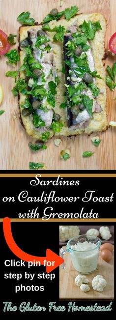 Delicious Sardines topped with Gremolata | Full if healthy ingredients with a very low amount of carbohydrate | How to make cauliflower toast | How to eat sardines | Healthy Benefits of Sardines | Paleo recipe | Keto | Cauliflower Toast | Fish | Low Carb | Whole 30::