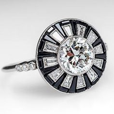 ART DECO STYLE DIAMOND W/ ONYX HALO ENGAGEMENT RING PLATINUM