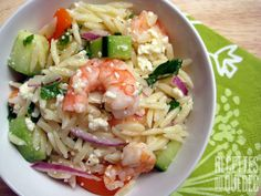 Salade de crevettes grillées et d'orzo Salad Recipes, Healthy Recipes, Pasta Salad, Food Salad, Cooking Tips, Potato Salad, Seafood, Cabbage, Salads