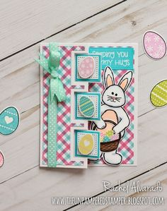 Easter card using bunny stamps and dies by The Stamps of Life. Base Flip-its Card Die Set by Sizzix