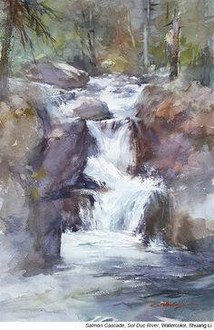 Watercolor Painting of New Jersey Waterfall Original an Reproduction