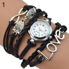[FREE] Women's Infinity Love Owl Knitting Leather Quartz Bracelet Watch