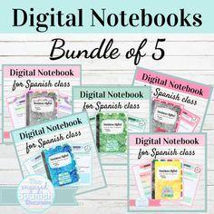 Editable Digital Interactive Notebook Bundle for Spanish Class | TpT High School Spanish, Spanish Class, Google Platform, High School Classroom, Rainbow Theme, Pink Themes, Notebook Paper, Ways To Communicate, Page Template