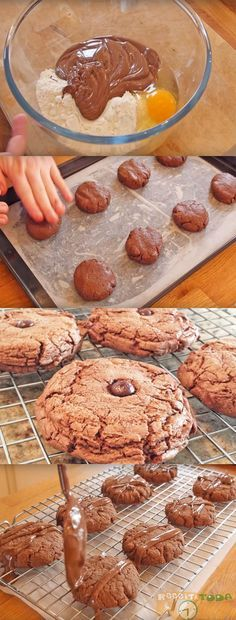 Cookie de Nutella com 4 Ingredientes #CookiedeNutella #Cookie #Receitatodahora Salt Block Cooking, Yummy Treats, Yummy Food, Food Wishes, Cookies Et Biscuits, Something Sweet, Chocolate Desserts, Creative Food, Yummy Cakes