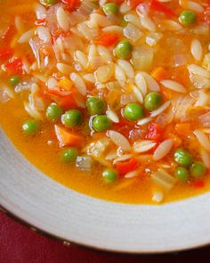 Vegetable soup with orzo. Will make when Im ready for a healthy break from heavy winter comfort food!