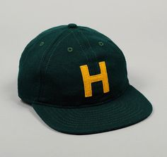 "HICKOREE'S ""H"" BALL CAP, FOREST GREEN & MUSTARD YELLOW :: HICKOREE'S"