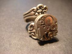 Steampunk Watch Movement  Spoon Ring with Exposed Gears (579)