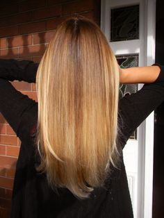 I want the back of my hair to look like this.. not straight across