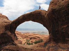On #Double-O-Arch at #Arches, #Moab UT