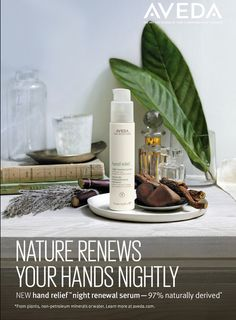What's new at Aveda? Hand Relief Night Renewal Serum—tackle aging on your hands in a unique new way, by improving skin's texture and tone while you sleep.