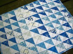 Blue Table Topper Spa Blue White Triangles by atthebrightspot, $48.00