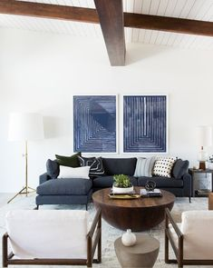 Beams in family room?Navy, white and natural color story for a modern living room design Mid Century Modern Living Room, Living Room Modern, My Living Room, Living Room Interior, Living Room Furniture, Living Room Designs, Living Spaces, Small Living, Interior Paint