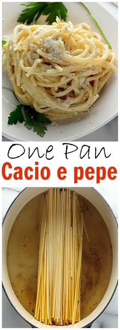 One-Pan Cacio e Pepe - Creamy Parmesan Pasta made easy in one pan! We LOVE this!