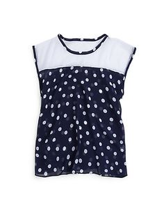 A polka dot shirt Cute Teen Outfits, Cute Winter Outfits, Outfits For Teens, Girls Tennis Dress, Off White Lace Dress, Sally Miller, Strapless Tops, Metallic Skirt, Butterfly Dress