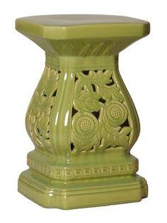 Four Seasons Fern Green Ceramic Garden Stool Www.finegardenproducts.com